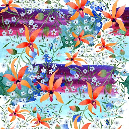 Blue ahd orange floral botanical flower. Watercolour drawing fashion aquarelle isolated. Standard-Bild - 117460624