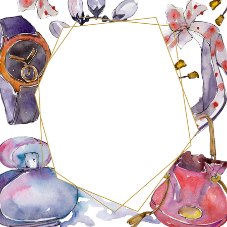 Watch, bracelet and bug sketch fashion glamour illustration in a watercolor style isolated. Clothes accessories set trendy vogue outfit. Aquarelle frame border ornament square.