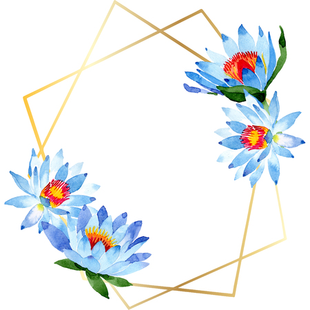Blue lotus. Floral botanical flower. Wild spring leaf isolated. Watercolor background illustration. Watercolour aquarelle . Frame border ornament square. Crystal diamond rock jewelry mineral.