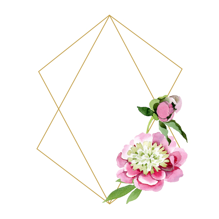 Pink peony watercolor background illustration set. Watercolour drawing fashion aquarelle isolated. Floral botanical flower isolated. Frame border ornament square. Diamond rock jewelry mineral. 스톡 콘텐츠