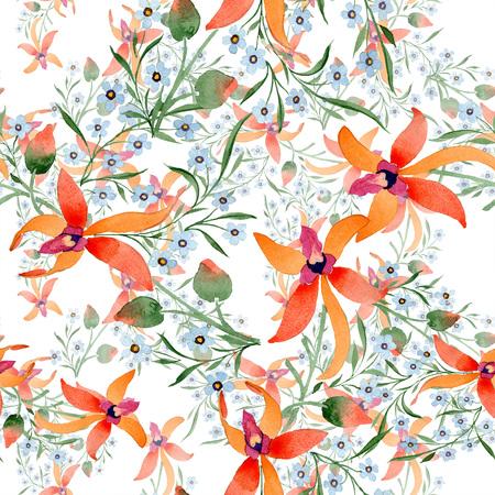 Blue ahd orange floral botanical flower. Watercolour drawing fashion aquarelle isolated. Archivio Fotografico - 117461237