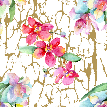 Orchid Floral botanical flower. Wild spring leaf. Watercolor background illustration set. Watercolour isolated. Seamless background pattern. Fabric wallpaper print texture.