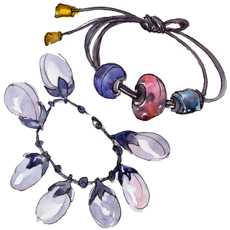 Bracelets sketch fashion glamour illustration in a watercolor style isolated. Clothes accessories set trendy vogue outfit. Isolated accecories illustration element. Watercolour drawing fashion. 写真素材
