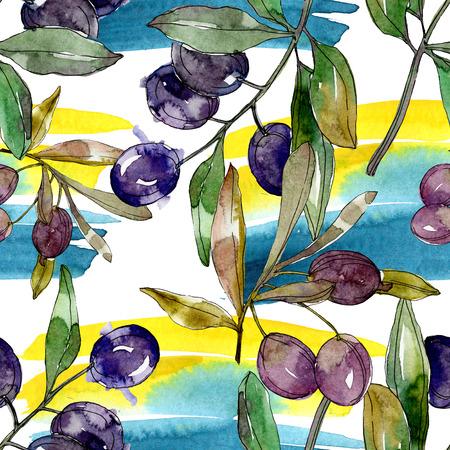 Black olive branch. Green leaf. Plant botanical garden floral foliage. Watercolor background illustration set. Seamless background pattern. Fabric wallpaper print texture. Archivio Fotografico - 117461563