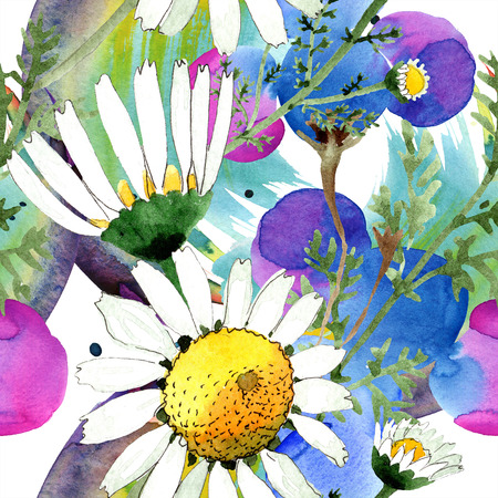Chamomile floral botanical flower. Wild spring leaf isolated. Watercolor illustration set. Watercolour drawing fashion aquarelle. Seamless background pattern. Fabric wallpaper print texture. Stok Fotoğraf