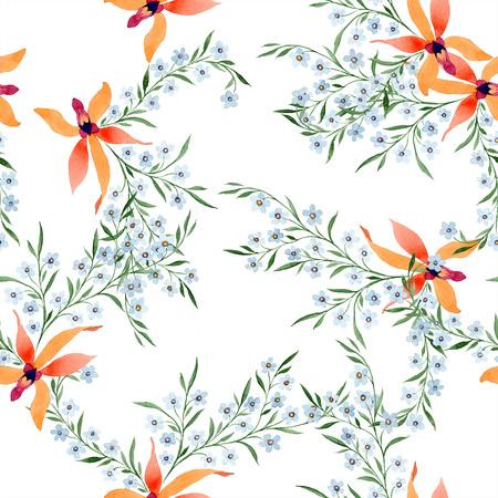 Blue ahd orange floral botanical flower. Watercolour drawing fashion aquarelle isolated. Archivio Fotografico - 117461686