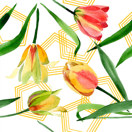 Yellow tulips. Floral botanical flower. Wild spring leaf wildflower isolated. Watercolor background illustration aquarelle isolated. Seamless background pattern. Fabric wallpaper print texture. Stock fotó - 117461957