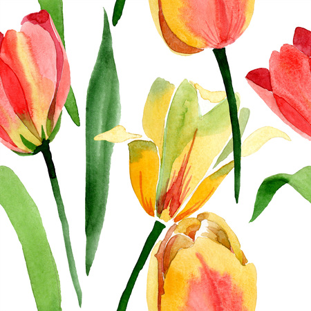 Yellow tulips. Floral botanical flower. Wild spring leaf wildflower isolated. Watercolor background illustration aquarelle isolated. Seamless background pattern. Fabric wallpaper print texture.