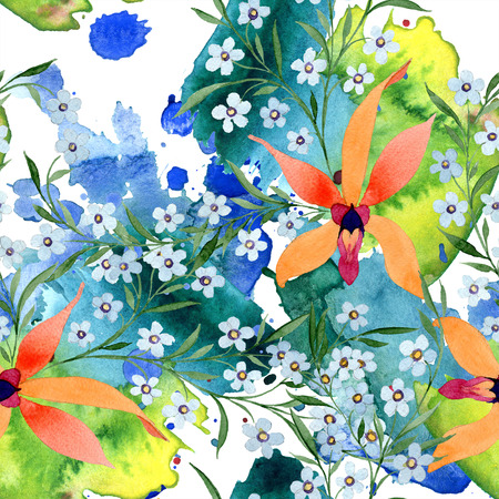 Blue ahd orange floral botanical flower. Watercolour drawing fashion aquarelle isolated. Archivio Fotografico - 117462022