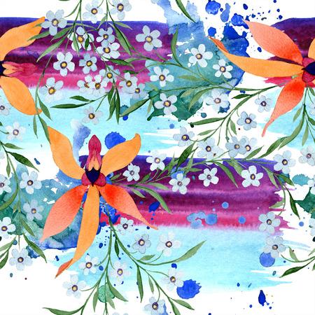 Blue ahd orange floral botanical flower. Watercolour drawing fashion aquarelle isolated. Archivio Fotografico - 117464092
