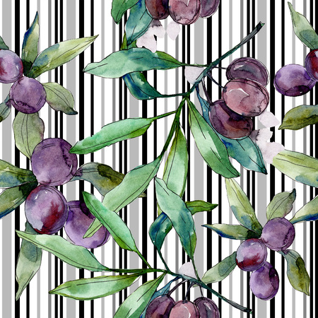 Black olive branch. Green leaf. Plant botanical garden floral foliage. Watercolor background illustration set. Seamless background pattern. Fabric wallpaper print texture.