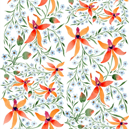 Blue ahd orange floral botanical flower. Watercolour drawing fashion aquarelle isolated. Archivio Fotografico - 117472199