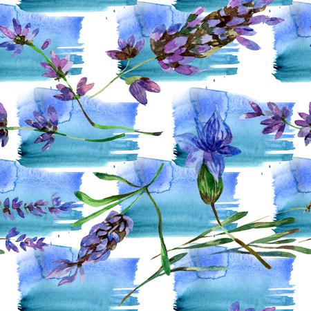 Purple lavender. Floral botanical flower. Wild spring leaf wildflower isolated. Watercolor background illustration set. Watercolour drawing fashion aquarelle isolated. Seamless background pattern.