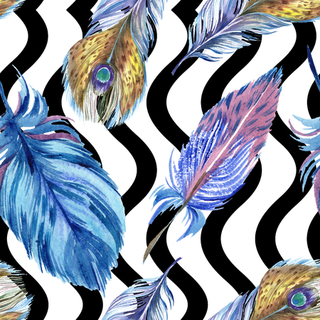 Colorful feathers. Watercolor bird feather from wing isolated. Aquarelle feather for background, texture, wrapper pattern, frame or border. Seamless background pattern. Fabric wallpaper print texture.