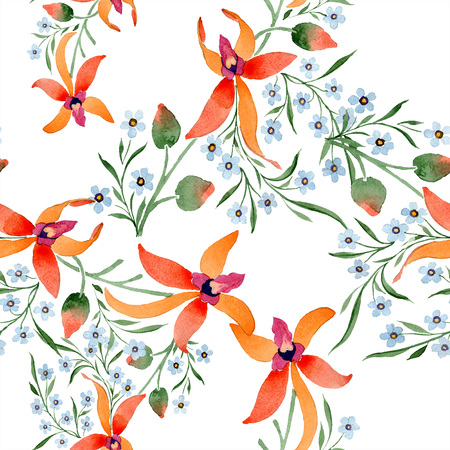 Blue ahd orange floral botanical flower. Watercolour drawing fashion aquarelle isolated. Standard-Bild - 117472350