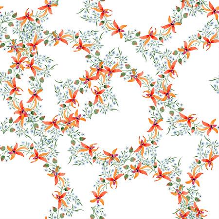 Blue ahd orange floral botanical flower. Watercolour drawing fashion aquarelle isolated. Standard-Bild - 117472439