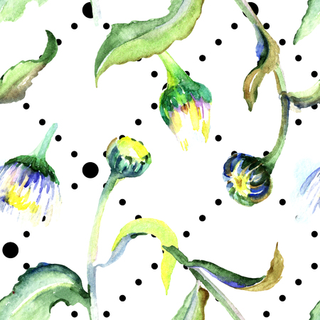 Daisy floral botanical flower. Wild spring leaf isolated. Watercolor background illustration set. Watercolour drawing aquarelle isolated. Seamless background pattern. Fabric wallpaper print texture.