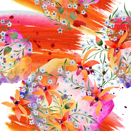 Blue ahd orange floral botanical flower. Watercolour drawing fashion aquarelle isolated. 스톡 콘텐츠