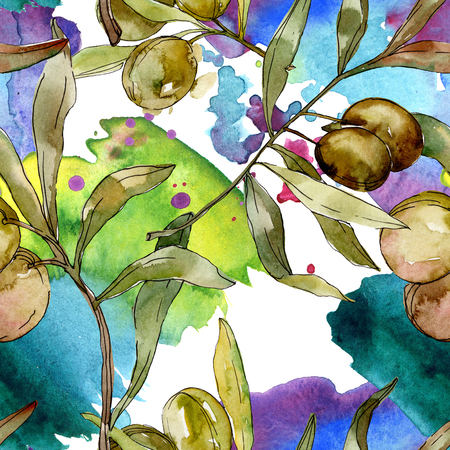 Green olives watercolor background illustration set. Watercolour drawing aquarelle. Green leaf. Leaf plant botanical garden floral foliage. Seamless background pattern. Fabric wallpaper print texture. Stock fotó