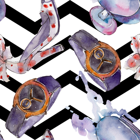 Watch, bracelet and bug sketch fashion glamour illustration in a watercolor style. Clothes accessories set trendy vogue outfit. Aquarelle seamless background pattern. Fabric wallpaper print texture.