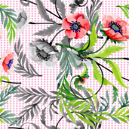 Ornament with red poppies. Floral botanical flower. Wild spring leaf wildflower isolated. Watercolor background illustration set. Seamless background pattern. Fabric wallpaper print texture. 스톡 콘텐츠