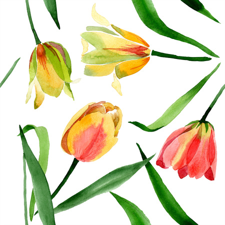 Yellow tulips. Floral botanical flower. Wild spring leaf wildflower isolated. Watercolor background illustration aquarelle isolated. Seamless background pattern. Fabric wallpaper print texture. Banque d'images - 117473094