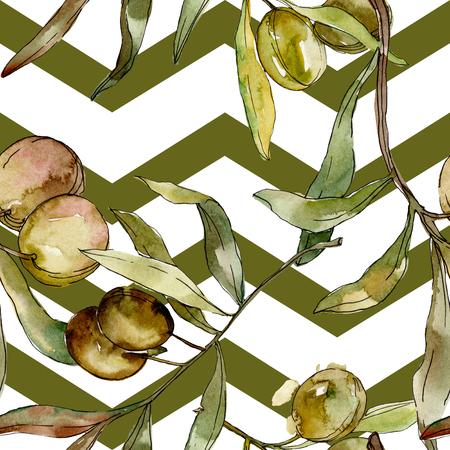 Green olives watercolor background illustration set. Watercolour drawing aquarelle. Green leaf. Leaf plant botanical garden floral foliage. Seamless background pattern. Fabric wallpaper print texture. Reklamní fotografie