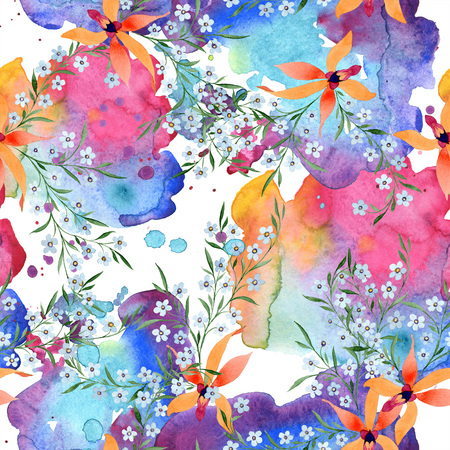 Blue ahd orange floral botanical flower. Watercolour drawing fashion aquarelle isolated. Archivio Fotografico - 117473292