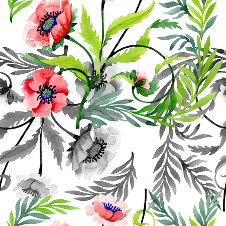 Ornament with red poppies. Floral botanical flower. Wild spring leaf wildflower isolated. Watercolor background illustration set. Seamless background pattern. Fabric wallpaper print texture. Zdjęcie Seryjne