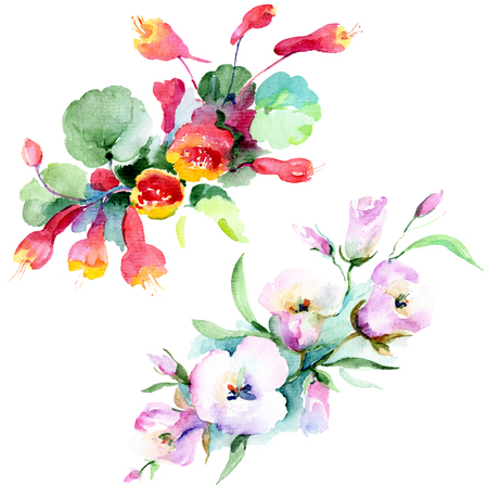 Bouquet floral botanical flowers. Wild spring leaf wildflower isolated. Watercolor background illustration set. Watercolour drawing fashion aquarelle isolated. Isolated bouquet illustration element.