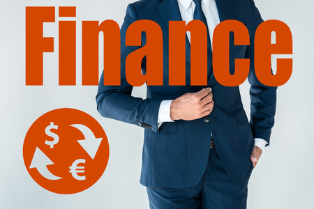 cropped image of businessman buttoning jacket isolated on white with finance icons
