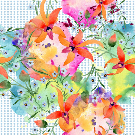 Blue ahd orange floral botanical flower. Watercolour drawing fashion aquarelle isolated. Standard-Bild - 117497286