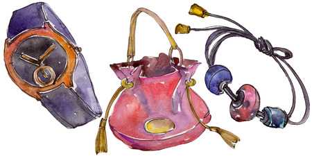 Watch, bracelet and bag sketch fashion glamour illustration in a watercolor style isolated. Clothes accessories set trendy vogue outfit. Isolated accecories element. Watercolour drawing.