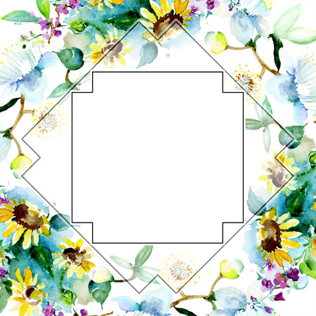 Bouquet floral botanical flower. Wild spring leaf wildflower isolated. Watercolor background illustration set. Watercolour drawing fashion aquarelle isolated. Frame border ornament square.