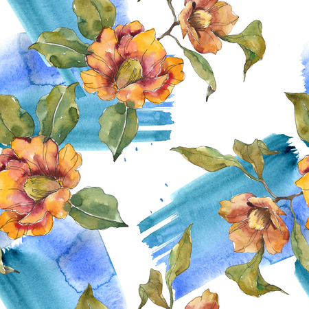 Red and orange camelia botanical flower. Wild spring leaf. Watercolor illustration set. Watercolour drawing fashion aquarelle isolated. Seamless background pattern. Fabric wallpaper print texture. Stock fotó