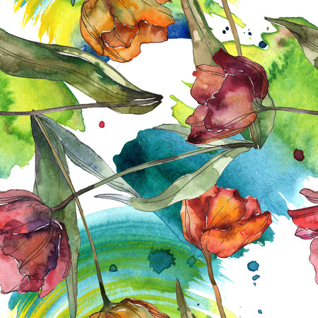 Red and burgundy botanical flower. Wild spring leaf isolated. Watercolor illustration set. Watercolour drawing fashion aquarelle. Seamless background pattern. Fabric wallpaper print texture.