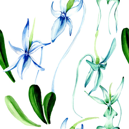 Blue Rare orchid. Floral botanical flower. Wild spring leaf. Watercolor illustration set. Watercolour drawing fashion aquarelle isolated. Seamless background pattern. Fabric wallpaper print texture. Reklamní fotografie - 117497905