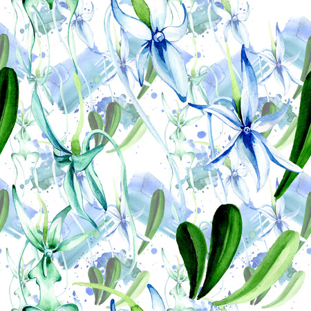 Blue Rare orchid. Floral botanical flower. Wild spring leaf. Watercolor illustration set. Watercolour drawing fashion aquarelle isolated. Seamless background pattern. Fabric wallpaper print texture. Фото со стока