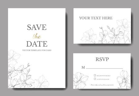 Vector Orcid botanical flower. Wild spring leaf isolated. Engraved ink art. Wedding background card floral decorative border. Thank you, rsvp, invitation elegant card illustration graphic set banner.