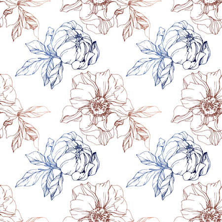 Vector Copper and blue peony floral botanical flower. Wild spring leaf wildflower isolated. Engraved ink art. Seamless background pattern. Fabric wallpaper print texture. Stock Photo