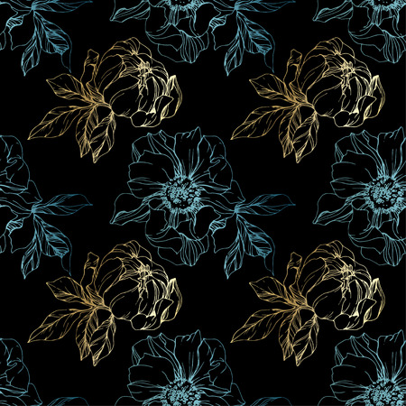 Vector Golden and blue peony floral botanical flower. Wild spring leaf wildflower isolated. Engraved ink art. Seamless background pattern. Fabric wallpaper print texture.