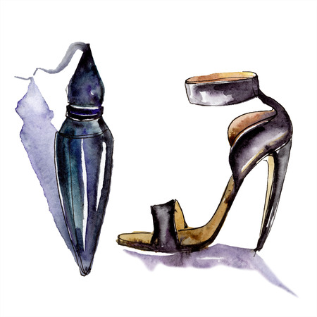 Perfume and shoe sketch fashion glamour illustration. Clothes accessories set trendy vogue outfit. Watercolor background set. Watercolour drawing fashion aquarelle. Isolated illustration element. Stock Photo