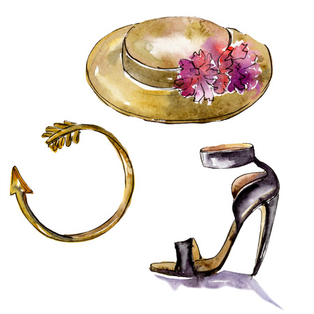 Bracelet, hat and rouge sketch fashion glamour. Clothes accessories set trendy vogue outfit. Watercolor background set. Watercolour drawing fashion aquarelle. Isolated illustration element.