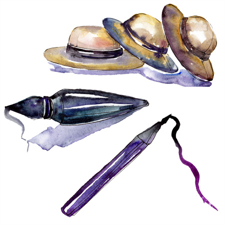 Perfume, hats and eyeliner sketch fashion glamour. Clothes accessories set trendy vogue outfit. Watercolor background set. Watercolour drawing fashion aquarelle. Isolated illustration element.