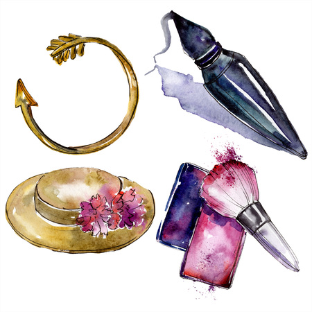 Perfume, rouge, bracelet and hat sketch fashion glamour. Clothes accessories set trendy vogue outfit. Watercolor background set. Watercolour drawing fashion aquarelle. Isolated illustration element.