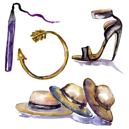 Bracelet, shoe, hats and eyelinersketch fashion glamour. Clothes accessories set trendy vogue outfit. Watercolor background set. Watercolour drawing fashion aquarelle. Isolated illustration element.