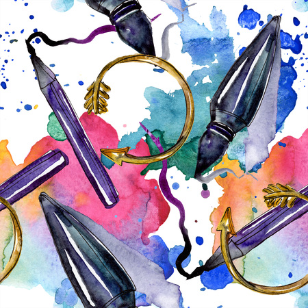 Clothes accessories and cosmetics set trendy vogue outfit. Watercolor background illustration set. Watercolour drawing fashion aquarelle. Seamless background pattern. Fabric wallpaper print texture.
