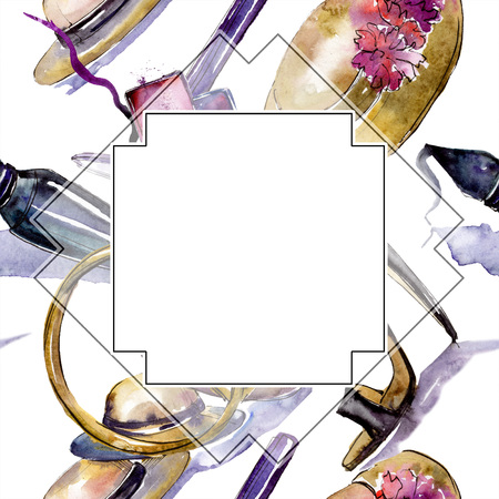 Cosmetics sketch fashion glamour illustration. Clothes accessories set trendy vogue outfit. Watercolor background illustration set. Watercolour drawing fashion aquarelle. Frame border ornament square.