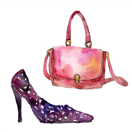 Bag and shoe sketch fashion glamour illustration in a watercolor style. Clothes accessories set trendy vogue outfit. Aquarelle fashion sketch for background. Watercolour drawing aquarelle isolated. 写真素材