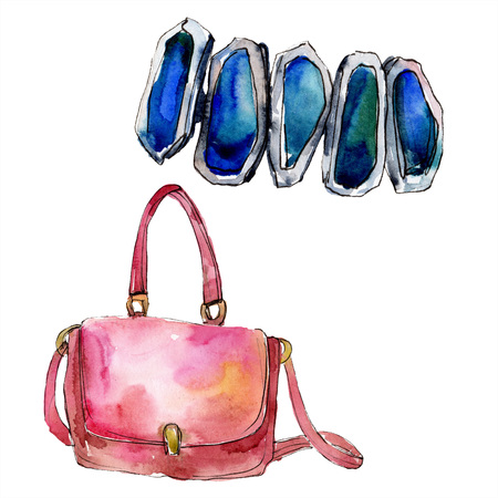 Bag and bracelet sketch fashion glamour illustration in a watercolor style. Clothes accessories set trendy vogue outfit. Aquarelle sketch for background. Watercolour drawing aquarelle isolated. Stock Photo